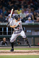Eric Wood (14) of the Indianapolis Indians at bat against the Charlotte Knights at BB&T BallPark on June 16, 2017 in Charlotte, North Carolina.  The Knights defeated the Indians 12-4.  (Brian Westerholt/Four Seam Images)