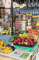 Senegal, Saint Louis.  Fruit, Snacks, and Water for Sale at a Shop at Saint Louis's Bus and Taxi Station.