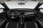 Stock photo of straight dashboard view of a 2019 Nissan Kicks SV 5 Door SUV