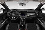 Stock photo of straight dashboard view of a 2019 Nissan Kicks SV 5 Door SUV