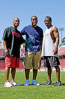 12 April 2007: Former players return to Stanford to play in the Alumni game at Stanford Stadium in Stanford, CA. Pictured are Troy Walters, DeRonnie Pitts and Luke Powell.
