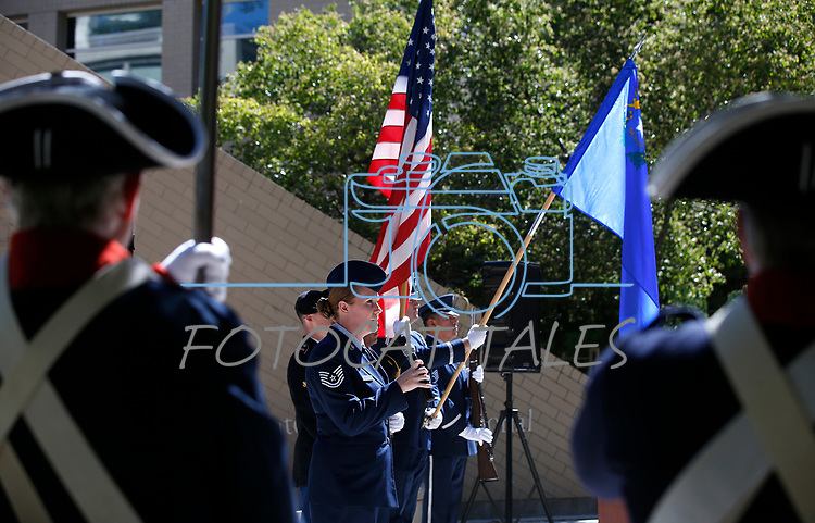 Nevada Air Guard Tech Sgt. Sabrina Norris sings the National Anthem at the Nevada National Guard's 23rd annual Flag Day ceremony in Carson City, Nev., on Monday, June 14, 2021. <br /> Photo by Cathleen Allison