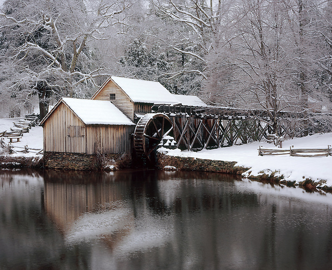 """Mabry Mill in winter snow, milepost 176, Blue Ridge Parkway, Virginia. Scanned from 4x5"""" transparency. Fuji Astia 100F"""