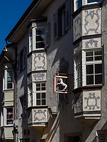Fassade in Fußgängerzone in Brixen, Region Südtirol-Bozeb, Italien, Europa<br /> house facadepedestrian area in Brixen, Region South Tyrol-Bolzano, Italy, Europe
