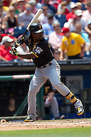 Pittsburgh Pirates  outfielder Andrew McCutchen #22 at bat during the Major League Baseball game against the Philadelphia Phillies on June 28, 2012 at Citizens Bank Park in Philadelphia, Pennsylvania. The Pirates defeated the Phillies 5-4. (Andrew Woolley/Four Seam Images)..