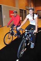 Mana MP Kris Faafoi with Sarah Walker. Move60 promotion at Te Rauparaha Arena, Porirua, Wellington, New Zealand on Saturday, 5 April 2014. Photo: Dave Lintott / lintottphoto.co.nz