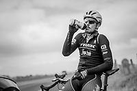 Bidon sip for John Degenkolb (DEU/Trek-Segafredo) during a break with Team Trek-Segafredo during their 2017 Paris-Roubaix recon, 3 days prior to the event.