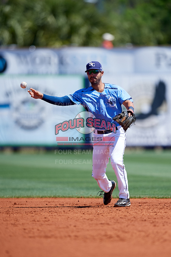 Charlotte Stone Crabs second baseman Peter Maris (3) throws to first base during a game against the Palm Beach Cardinals on April 12, 2017 at Charlotte Sports Park in Port Charlotte, Florida.  Palm Beach defeated Charlotte 8-7.  (Mike Janes/Four Seam Images)