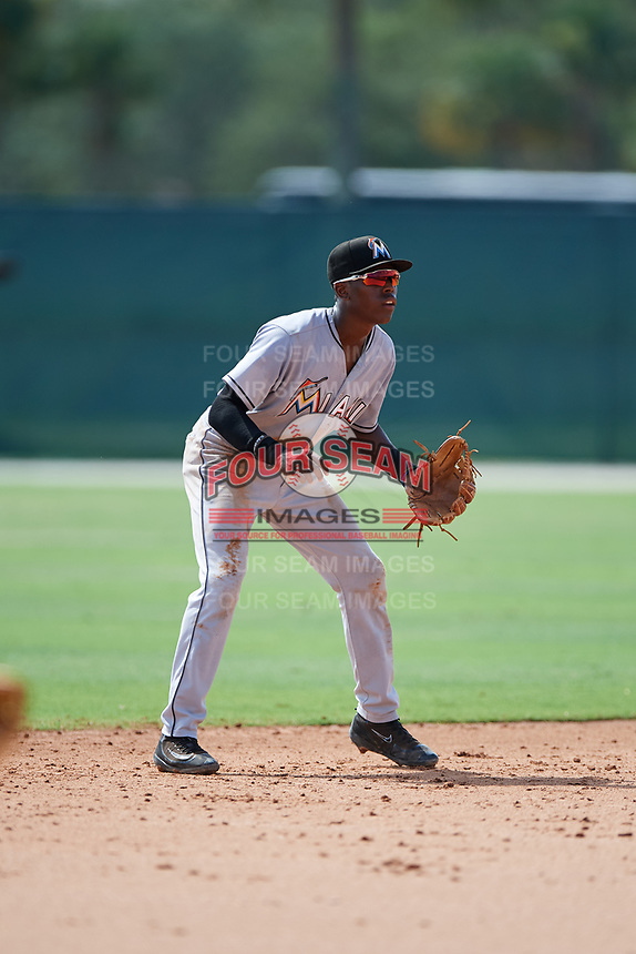 GCL Marlins shortstop Demetrius Sims (19) during the first game of a doubleheader against the GCL Nationals on July 23, 2017 at Roger Dean Stadium Complex in Jupiter, Florida.  GCL Nationals defeated the GCL Marlins 4-0.  (Mike Janes/Four Seam Images)