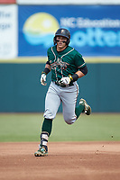 Mason Martin (35) of the Greensboro Grasshoppers rounds the bases after hitting a home run against the Hickory Crawdads at L.P. Frans Stadium on May 26, 2019 in Hickory, North Carolina. The Crawdads defeated the Grasshoppers 10-8. (Brian Westerholt/Four Seam Images)