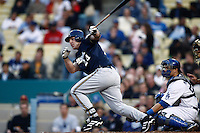 Kevin Mench of the Milwaukee Brewers during a game from the 2007 season at Dodger Stadium in Los Angeles, California. (Larry Goren/Four Seam Images)