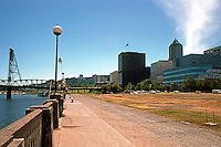 """Portland: Willamette Riverfront, looking south to Hawthorne Bridge--Empty """"Park"""", formerly a highway, I was told; made park by Neil Goldschmidt as Mayor.  Photo '86."""