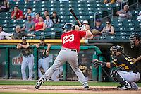 Mike Zunino (23) of the Tacoma Rainiers at bat against the Salt Lake Bees in Pacific Coast League action at Smith's Ballpark on September 2, 2015 in Salt Lake City, Utah. Tacoma defeated Salt Lake 13-6.  (Stephen Smith/Four Seam Images)