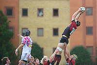 20120823 Copyright onEdition 2012©.Free for editorial use image, please credit: onEdition..Steve Borthwick of Saracens (right) outjumps Quentin Aram of Stade Francais Paris at The Honourable Artillery Company, London in the pre-season friendly between Saracens and Stade Francais Paris...For press contacts contact: Sam Feasey at brandRapport on M: +44 (0)7717 757114 E: SFeasey@brand-rapport.com..If you require a higher resolution image or you have any other onEdition photographic enquiries, please contact onEdition on 0845 900 2 900 or email info@onEdition.com.This image is copyright the onEdition 2012©..This image has been supplied by onEdition and must be credited onEdition. The author is asserting his full Moral rights in relation to the publication of this image. Rights for onward transmission of any image or file is not granted or implied. Changing or deleting Copyright information is illegal as specified in the Copyright, Design and Patents Act 1988. If you are in any way unsure of your right to publish this image please contact onEdition on 0845 900 2 900 or email info@onEdition.com
