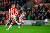 1st October 2021;  Bet365 Stadium, Stoke, Staffordshire, England; EFL Championship football, Stoke City versus West Bromwich Albion; Sam Surridge of Stoke City takes a penalty kick, which was saved