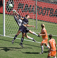 Sky Blue FC goalkeeper Jenn Branam makes a diving save from advancing LA Sol midfielder Shannon Boxx. The Sky Blue FC defeated the LA Sol 1-0 to win the WPS Final Championship match at Home Depot Center stadium in Carson, California on Saturday, August 22, 2009...