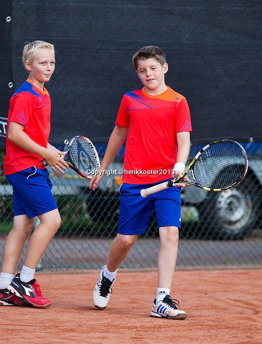 08-08-13, Netherlands, Rotterdam,  TV Victoria, Tennis, NJK 2013, National Junior Tennis Championships 2013,  Doubles,  Daan Hendriks/Jens Hoogendam<br /> <br /> <br /> Photo: Henk Koster