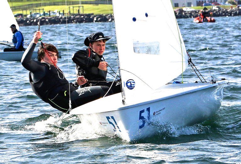 Ben Graf on helm and Alexander Farrell on wire as they shape their champion International 420 for a start. Graf will try out a 29er at the youth nationals at Crosshaven