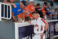 Aberdeen IronBirds Kyle Stowers (54) talks with fans before a NY-Penn League game against the Vermont Lake Monsters on August 19, 2019 at Leidos Field at Ripken Stadium in Aberdeen, Maryland.  Aberdeen defeated Vermont 6-2.  (Mike Janes/Four Seam Images)