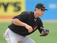 June 21, 2008: Infielder Billy Rowell (11) of the Frederick Keys, Carolina League affiliate of the Baltimore Orioles, prior to a game against the Potomac Nationals at G. Richard Pfitzner Stadium in Woodbridge, Va. Photo by:  Tom Priddy/Four Seam Images