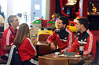 Wednesday 07 August 2013<br /> Pictured: Coaching staff at Cardiff Airport.<br /> Re: Swansea City FC travelling to Sweden for their Europa League 3rd Qualifying Round, Second Leg game against Malmo.