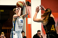 13-03-2021: Basketbal: Keijser Capital Martini Sparks v Grasshoppers: Haren Martini Sparks speelster Danielle Pruys met Grasshoppers speelster Noor Driessen