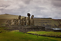 Rapa Nui, Easter island, oct 2011. Ahu Tongariki In Rapa Nui, also called Easter Island, the  king of the original people is back after a hundred years RirorokoTuki Valentino, the new monarch, is  an old man who has made his living as a farmer and fisherman and  traveled the world as a ship´s stowaways . <br /> He lives in a modest house in a rural area of the island near their 8 children and 24grandchildren.<br /> He was proclaimed King by the Assembly of Rapa Nui in July, and his reign has aunique purpose:  to finish with the Treaty of Wills from  1888, by which Chile took possession of Easter Island. The demand for Valentino and people ask seeks for Independence and also a billionare suit against Chilean state  for a century of apartheid and discrimination.