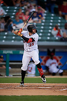 Indianapolis Indians Will Craig (25) bats during an International League game against the Syracuse Mets on July 16, 2019 at Victory Field in Indianapolis, Indiana.  Syracuse defeated Indianapolis 5-2  (Mike Janes/Four Seam Images)