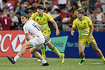 Will Glover of England passes the ball during the match Australia vs England, the Bronze Final of Day 2 of the HSBC Singapore Rugby Sevens as part of the World Rugby HSBC World Rugby Sevens Series 2016-17 at the National Stadium on 16 April 2017 in Singapore. Photo by Victor Fraile / Power Sport Images