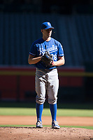 Kansas City Royals starting pitcher Glenn Sparkman (28) prepares to deliver a pitch during an Instructional League game against the Arizona Diamondbacks at Chase Field on October 14, 2017 in Scottsdale, Arizona. (Zachary Lucy/Four Seam Images)