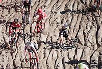 Chiara Teocchi (ITA/Trinity Racing) crashing in the infamous Zonhoven 'Pit'<br /> <br /> Elite Women's Race<br /> 2021 UCI cyclo-cross World Cup - Zonhoven (BEL)<br /> <br /> ©kramon