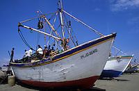 Amérique/Amérique du Sud/Pérou/Env de Chiclayo/Santa Rosa : Détail d'un bateau de pêche