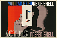 BNPS.co.uk (01202 558833)<br /> Pic: Lyon&Turnbull/BNPS<br /> <br /> Pictured: A 1933, claimed 'Actors Prefer Shell' <br /> <br /> A vast collection of vintage Shell posters have sold at auction for almost £60,000.<br /> <br /> The group of 49 sheets were sold directly from the oil giant's archives and featured some incredibly rare designs from down the years.<br /> <br /> All of the posters had previously been used in Shell advertising campaigns, dating back to between the 1920s and 1950s.<br /> <br /> Many of the colourful designed featured the slogan 'You can be sure of Shell' and list people who preferred their fuel.