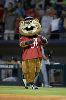 "Gwinnett Stripers mascot ""Chopper"" sports an Alabama Crimson Tide jersey on ""College Night"" at Coolray Field on August 16, 2019 in Lawrenceville, Georgia. The Stripers defeated the RailRiders 5-2. (Brian Westerholt/Four Seam Images)"