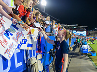 FRISCO, TX - MARCH 11: Becky Sauerbrunn #4 of the United States visits with fans after their game with Japan during a game between Japan and USWNT at Toyota Stadium on March 11, 2020 in Frisco, Texas.