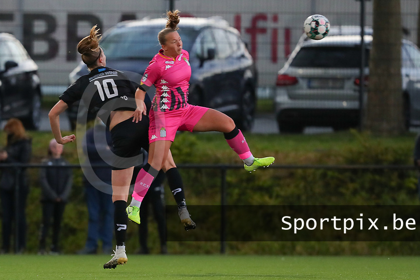 Marie Bougard (10) of Woluwe and Megane Vos (20) of Charleroi  pictured during a female soccer game between Sporting Charleroi and White Star Woluwe on the 7 th matchday in play off 2 of the 2020 - 2021 season of Belgian Scooore Womens Super League , friday 14 th of May 2021  in Marcinelle , Belgium . PHOTO SPORTPIX.BE   SPP   Sevil Oktem