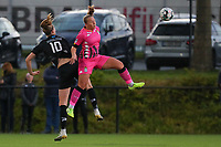 Marie Bougard (10) of Woluwe and Megane Vos (20) of Charleroi  pictured during a female soccer game between Sporting Charleroi and White Star Woluwe on the 7 th matchday in play off 2 of the 2020 - 2021 season of Belgian Scooore Womens Super League , friday 14 th of May 2021  in Marcinelle , Belgium . PHOTO SPORTPIX.BE | SPP | Sevil Oktem