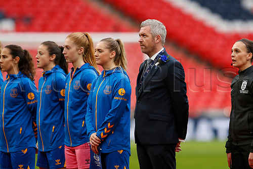 1st November 2020; Wembley Stadium, London, England; Womens FA Cup Final Football, Everton Womens versus Manchester City Womens; Everton Women Manager Willie Kirk stands for the national anthem alongside Everton's starting eleven