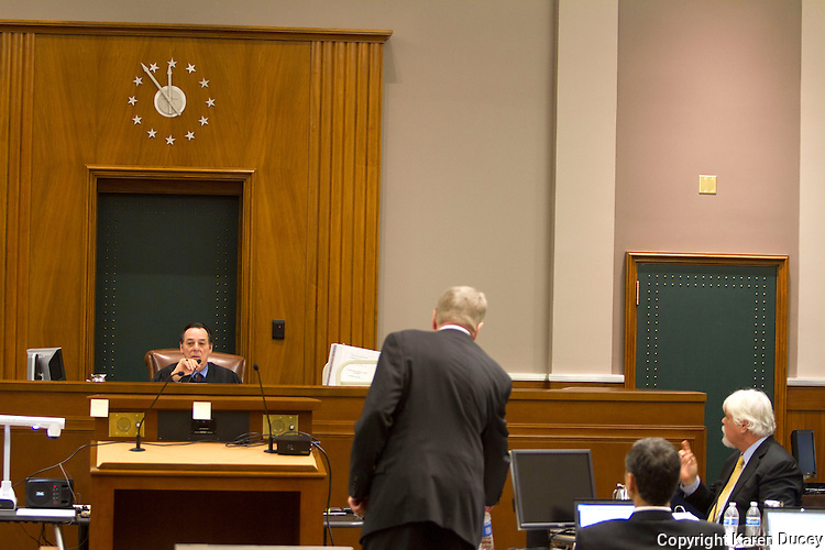 PAUL WATSON, (left) Founder of the Sea Shepherd Conservation Society, is questioned by his attorney Timothy G. Leyh in the United States Court of Appeals, Ninth Circuit in Seattle, Washington under Commissioner Peter L. Shaw in Seattle, Wash. on November 6, 2013. Japanese whalers, researchers and other Japanese seafood business leaders claim Watson and the Sea Shepherd ships disrupted their whale hunt in the Southern Ocean during the 2012-2013 whaling season thereby violating an injunction they brought up against him issued by the court last December. (copyright Karen Ducey/KarenDucey.com)