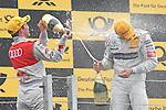 04.07.2010, Norisring, Nuernberg, GER, 4. DTM Lauf Norisring 2010, im Bild.Mattias Ekstroem (Audi Sport Team Abt Sportsline) und Bruno Spengler (Mercedes-Benz Bank AMG) bei der Sektdusche.Foto: nph /  News