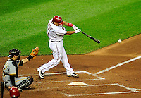 8 June 2010: Washington Nationals' catcher Ivan Rodriguez at bat against the Pittsburgh Pirates at Nationals Park in Washington, DC. The Nationals defeated the Pirates 5-2 in the series opener where pitching sensation Stephen Strasburg made his Major League debut, striking out 14 batters and notching his first win in the majors. Mandatory Credit: Ed Wolfstein Photo