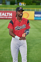 Orlando Calixte (2) of the Sacramento River Cats before the game against the Salt Lake Bees at Smith's Ballpark on May 17, 2018 in Salt Lake City, Utah. Salt Lake defeated Sacramento 12-11. (Stephen Smith/Four Seam Images)