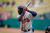 Michael Harris II (24) of the Rome Braves at bat against the Greensboro Grasshoppers at First National Bank Field on May 16, 2021 in Greensboro, North Carolina. (Brian Westerholt/Four Seam Images)