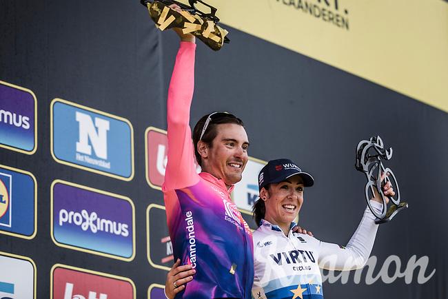Italian podium <br /> <br /> 1st place men elite race = Alberto Bettiol (ITA/EF Education First)<br /> <br /> 1st place women's elite race = Marta Bastianelli (ITA/Virtu Pro Cycling)<br /> <br /> <br /> 103rd Ronde van Vlaanderen 2019<br /> One day race from Antwerp to Oudenaarde (BEL/270km)<br /> <br /> ©kramon