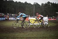 last lap for Wout Van Aert (BEL/Crelan-Vastgoedservice) & Lars Van der Haar (NLD/Giant-Alpecin)<br /> <br /> Men's Elite Race<br /> <br /> UCI 2016 cyclocross World Championships,<br /> Zolder, Belgium