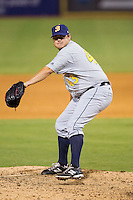 Montgomery Biscuits relief pitcher Cory Burns (43) in action against the Chattanooga Lookouts at AT&T Field on July 24, 2014 in Chattanooga, Tennessee.  The Biscuits defeated the Lookouts 6-4. (Brian Westerholt/Four Seam Images)
