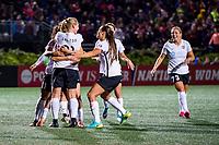 Boston, MA - Saturday September 30, 2017: Sky Blue FC celebrate a goal during a regular season National Women's Soccer League (NWSL) match between the Boston Breakers and Sky Blue FC at Jordan Field.