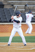 Brett Smith (2) of the Bucknell Bison at bat against the Georgetown Hoyas at Wake Forest Baseball Park on February 14, 2015 in Winston-Salem, North Carolina.  The Hoyas defeated the Bison 8-5.  (Brian Westerholt/Four Seam Images)
