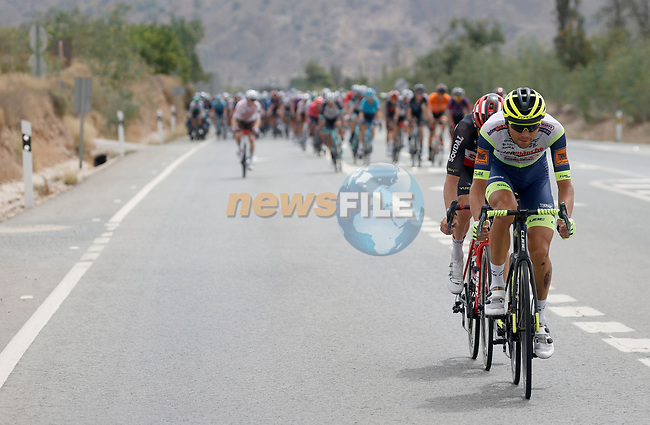 The peloton during Stage 9 of La Vuelta d'Espana 2021, running 188km from Puerto Lumbreras to Alto de Velefique, Spain. 22nd August 2021.     <br /> Picture: Luis Angel Gomez/Photogomezsport   Cyclefile<br /> <br /> All photos usage must carry mandatory copyright credit (© Cyclefile   Luis Angel Gomez/Photogomezsport)