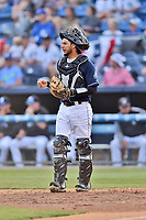 Asheville Tourists catcher Joel Diaz (5) during a game against the Greenville Drive at McCormick Field on April 15, 2017 in Asheville, North Carolina. The Tourists defeated the Drive 5-4. (Tony Farlow/Four Seam Images)